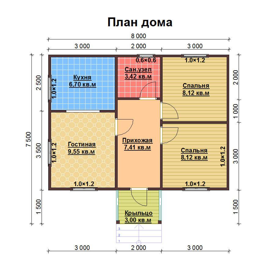 Одноэтажный дом 6х8