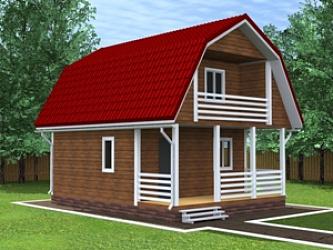 Каркасный дом 6 на 8 с террасой, хороший проект для дачного .