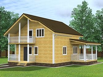 Двухэтажный дом 8 на 10 с балконом - проект под ключ, заказа.