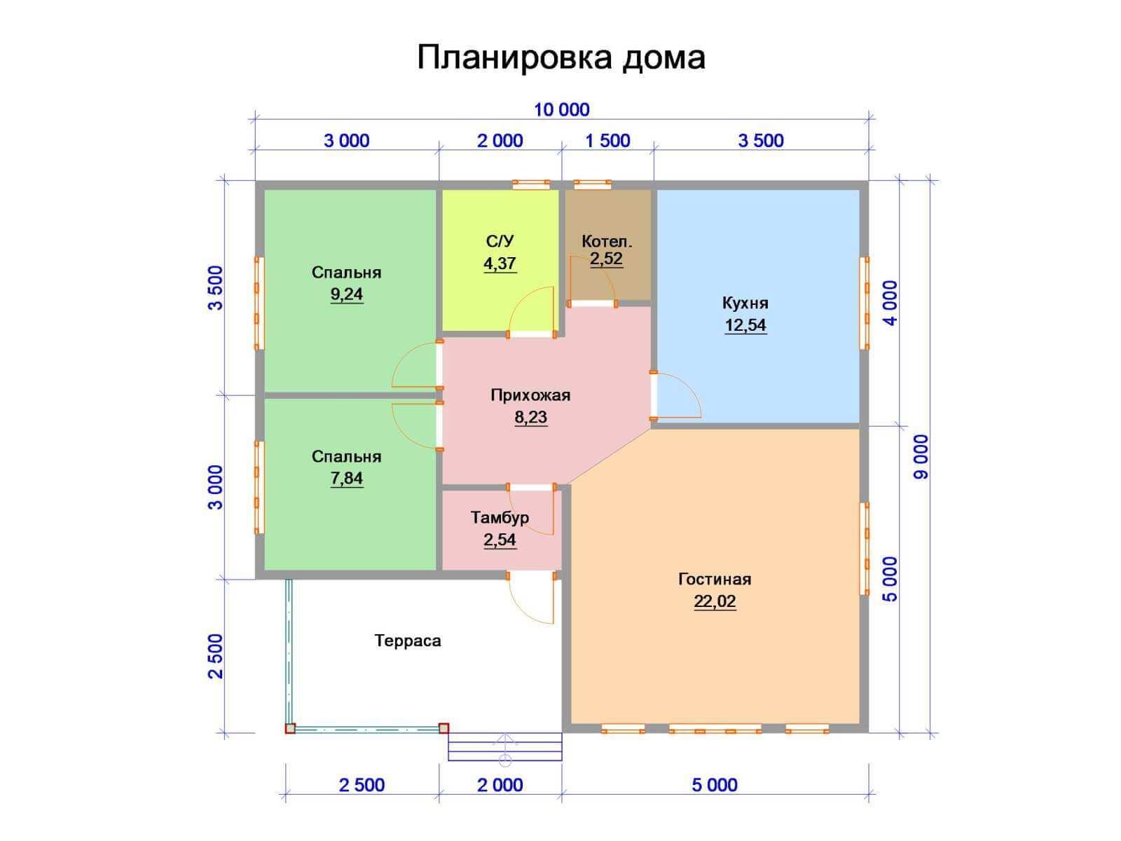план дома9на12