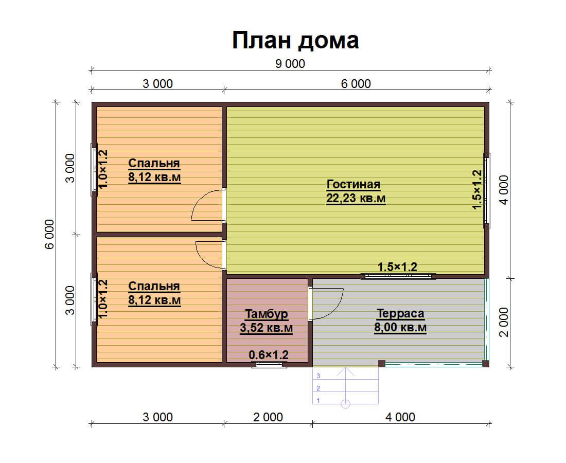 одноэтажный каркасный дом 6 на 6 купить
